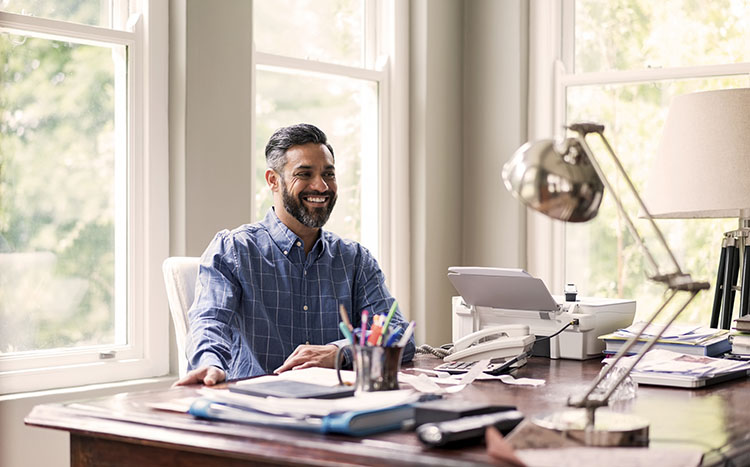 Business guy working in home office